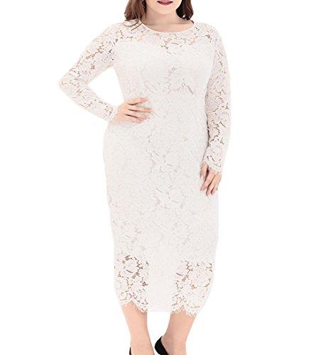 Eternatastic Women's Floral Lace Long Sleeve Plus Size Lace Dress White1 3XL