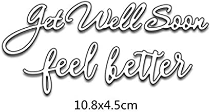 Word Get Well Soon &Ffeel Better Cutting Dies for Card Making Metal Cut Dies Mould 3D Stencil Template for DIY Decorative Embossing Photo Scrapbook Album Paper Letter Craft Compatible Die Cutting Machine