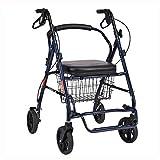 QI-shanping Älterer Laufkatze-Wanderer Rollator Vier Rad-faltender Leichter Rollstuhl -