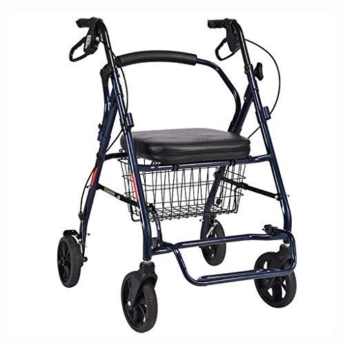 B-fengliu Trolley for Mayores Walker Rollator Cuatro Ruedas Plegable Silla de Ruedas Ligera ⭐