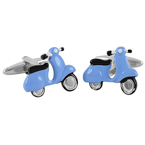 Lindenmann Cufflinks/Cuff Buttons, Silvery with Blue Vespa, Gift Box, 1663