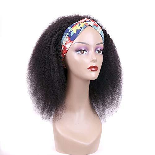 FZYHair Mongolian Human Hair Wigs Afro Kinky Curly Wigs (12 zoll) Kurze Afro-Verworrene Lockige with headband brasilianisches Virgin Remy Afro Perücken für schwarze Frauen (flauschige Locken)