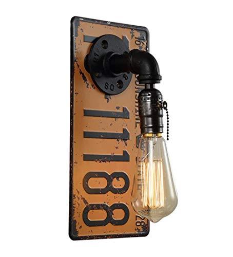 Lámpara de pared retro industrial de hierro estilo shabby para matrícula, tubo de agua, lámpara de pared con interruptor de cremallera, lámpara de comedor, para bar, cafetería, escalera, H30 cm