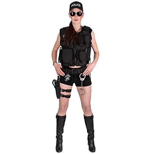 Black Snake® Damen Kostüm SWAT Police FBI Security | Einsatzweste, Beinholster, Cap, Zubehör - Police - M/L