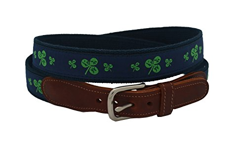 Epic Mens Navy Shamrock Ribbon Belt Size 34