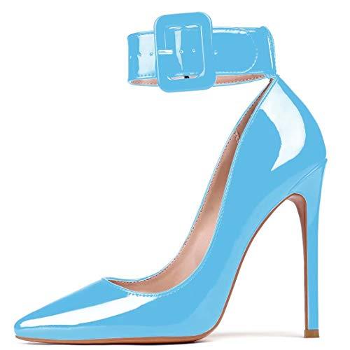 Damen Spitze Schuh Stilettos High Heels, 12cm Schnalle Heels, Knöchelriemen Heels, Fashion Heels, Pumps für Hochzeit Bürokleid Hellblau EU38