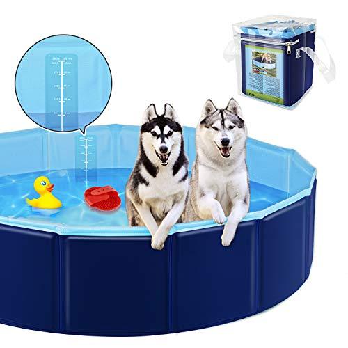 YAOBLUESEA Piscina per Cani, Pieghevole Piscina per Gatti Animali Bambini Grandi Rigida in Antiscivolo PVC per Esterno e Interno (160x30cm)
