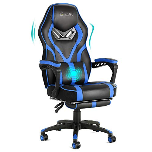 Video Gaming Chair Racing Recliner with Massage Function- Ergonomic Adjustable Padded Armrest Swivel High Back Footrest with Headrest Lumbar Support Leather Breathable Bucket Seat Home Office Desk
