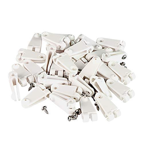Windhager Laufhaken für die Befestigung von Sonnensegel oder Seilspannmarkise, Drahtseilbebestigung, 30 STK Set mit Edelstahlschrauben, 10701, weiß, Stück