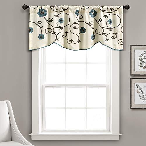 "Lush Decor Royal Garden Floral Window Kitchen Curtain Valance, 18"" x 42"", Blue"