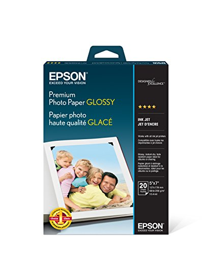 Epson S041464 Premium Photo Paper, 68 lbs., High-Gloss, 5 x 7 (Pack of 20 Sheets)