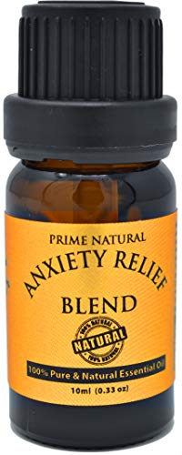Prime Natural Anxiety Relief Essential Oil Blend 10ml - Pure Undiluted Therapeutic Grade for Aromatherapy, Scents & Diffuser - Stress Relief, Relaxation, Boost Mood, Uplifting, Calming