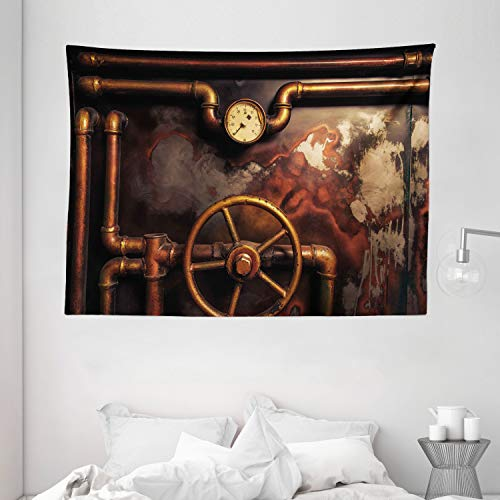 Ambesonne Industrial Tapestry, Steam Pipes and Pressure Gauger Vintage Style Damaged Timeworn Engine, Wide Wall Hanging for Bedroom Living Room Dorm, 80