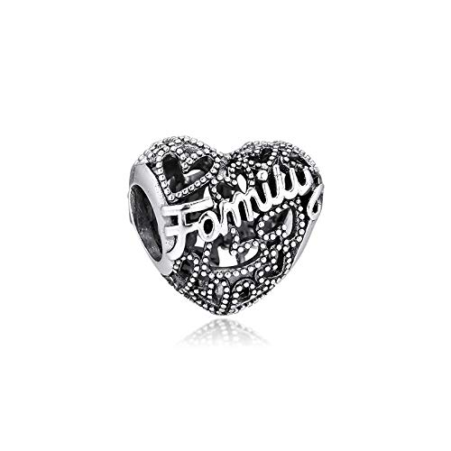 Diy Fit Pandora Charms Bracelet 100% 925 Sterling Silver Family Heart Charm Beads For Jewelry Making