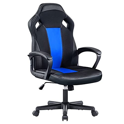 MELLCOM Office Chair Gaming Chair Computer Game Chair Racing Chair Ergonomic High Back PC Desk Chair, Height Adjustable PU Leather Mesh, Video Game Chairs for Teens and Adults, Blue