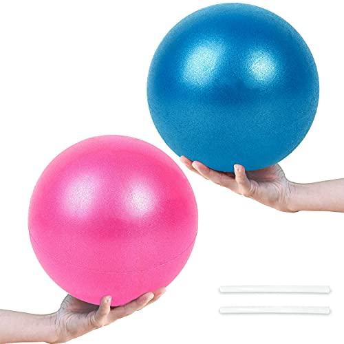 Gymnastikball Klein Pilates Ball, 2 Pcs Übung Ball Rutschfester & Superleichter Soft Gymnastikball mit Pumpe, 25cm, Fitness Ball für Yoga, Heim, Büro, Sitzball(Pink und Blau)