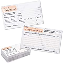 PRAYER CARDS: Welcome new guests to your church and gather prayer requests with these convenient, fill-in-the-blank church visitors cards in a marble design ATTRACTIVE APPEARANCE: Marble design on the cards gives them an elegant and welcoming look CO...