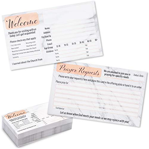 Prayer Request and Church Visitor Cards in Marble Design (3 x 5 In, 100-Pack)