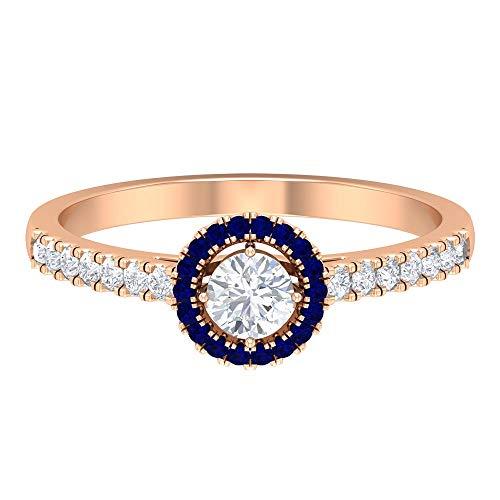 Anillo de compromiso Art Déco, HI-SI de 1/2 quilate, anillo de boda de halo, anillo de zafiro azul, anillo de piedra natal de septiembre, anillo de boda único, oro de 18 quilates azul