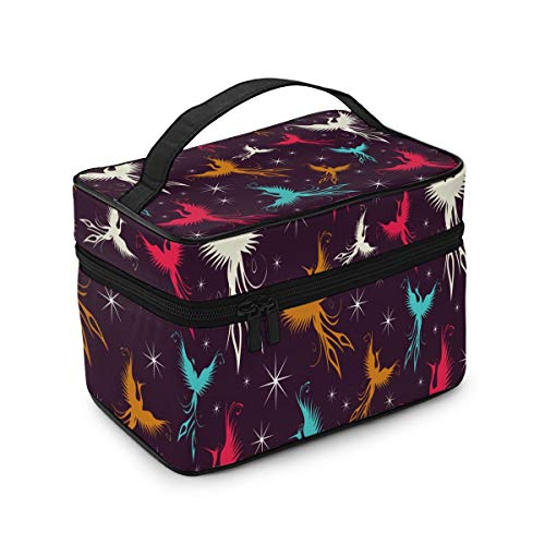 RTBB Kosmetiktasche mit buntem Phoenix-Vogel-Motiv, tragbar, mit Griff, doppelter Reißverschluss, Reise-Make-up-Tasche, Aufbewahrungstasche für Mädchen