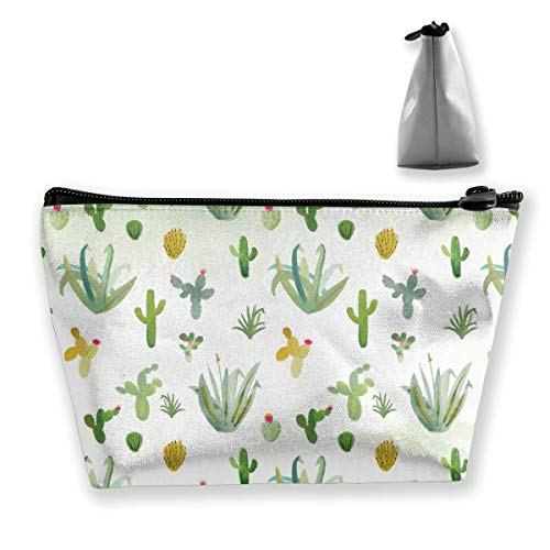 Hipiyoled Cactus Succulents Trapezoid Cosmetic Bag Storage Bag Zipper Multifunctional Accessory Wallet Travel Outdoor Shopping Coin Wallet for Adult Women