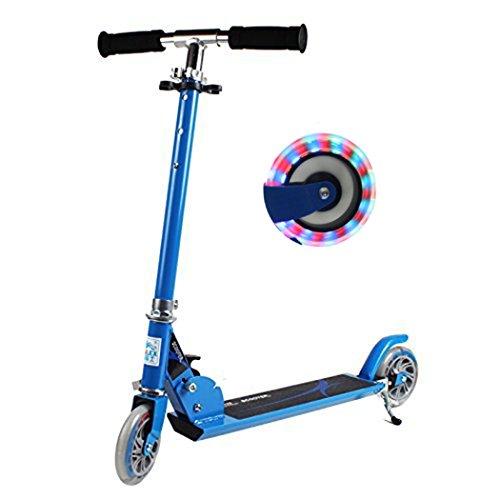 Patinete plegable para niños, altura ajustable, con 2 ruedas LED, luz de...