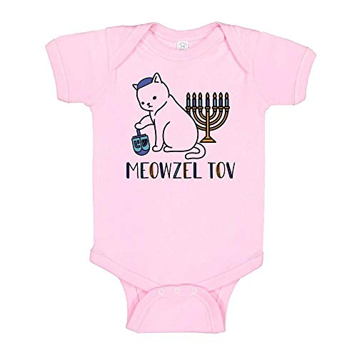 Meowzel Tov Cat Hanukkah Baby Onesie Infant One Piece Bodysuit 12 Months Light Pink