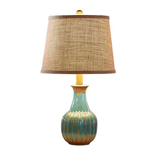 SHUTING2020 lámpara de Mesa Americano Retro pequeña lámpara de Tabla lámpara de cabecera del Dormitorio de cerámica lámpara de Mesa Muebles Sala de iluminación Lámpara Noche (Color : Blue)