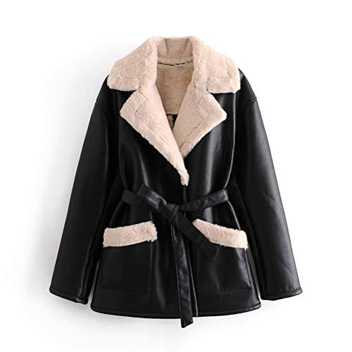Male god Abrigo de piel para mujer de invierno de manga larga con solapa gruesa y cálida chaqueta de abrigo vintage resistente al viento con cinturón locomotora tops femeninos (tamaño grande: grande)