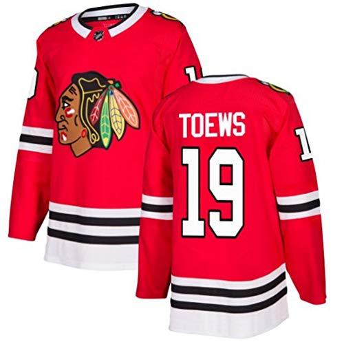 HZIH Eishockey Trikots Sporttraining Kleidung Langarm-T-Shirt Gesticktes Logo Toews # 19 NHL Männer Sweatshirts atmungsaktiv,L