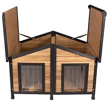 ELIGHTRY Niche pour Chien en Bois Massif Cage D'extérieur avec Toit Pointu Résistant aux Intempéries Brun Clair/Noir 110x67x80cm