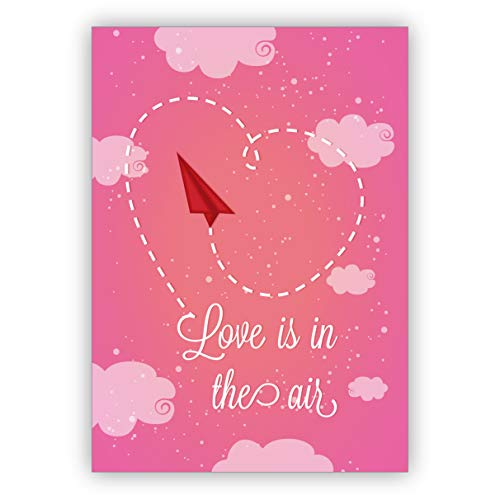 Romantische liefdeskaart/Valentijnskaart met papier Vlieger voor verliefden: Love is in the air • Leuke wenskaart met envelop in premium kwaliteit 16 Grußkarten