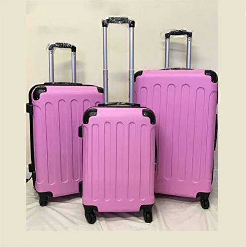 GXK Hard Shell 4 Wheel Spinner Suitcase Luggage Case Trolley Cabin Carry On PC PINK (Color : Set of 3)