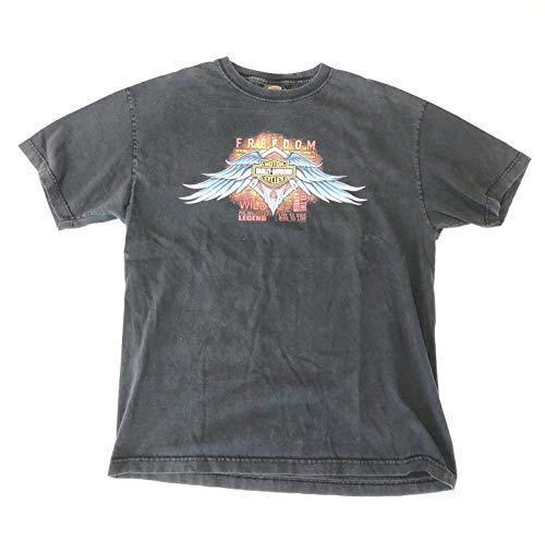 HARLEY-DAVIDSON Original Vintage T-Shirt Tee-Shirt Lazy Flag Kiel Gebraucht Bwl, Schwarz - Freedom, XL