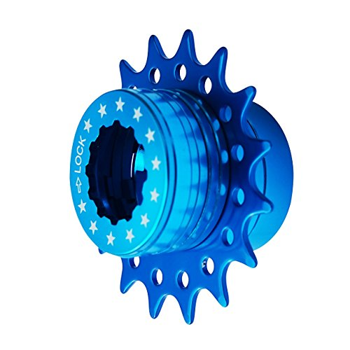 Bike Single Speed Fixie Cassette Conversion Kit Compatable Shimano 18T Colors (Blue)