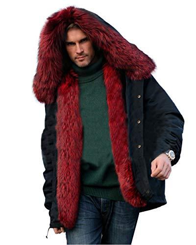 Aox Men's Casual Faux Fur Hood Thicken Winter Coat Lightweight Snow Jacket Parka (XL, Red Faxu Fur)