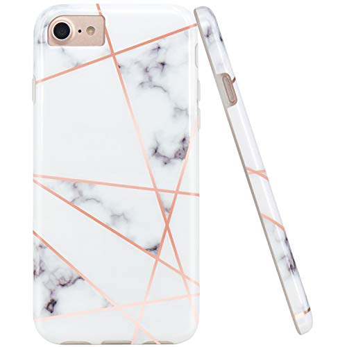 JAHOLAN Shiny Rose Gold Geometric White Marble Design Clear Bumper Glossy TPU Soft Rubber Silicone Cover Phone Case Compatible with iPhone 7 iPhone 8 iPhone 6 6S