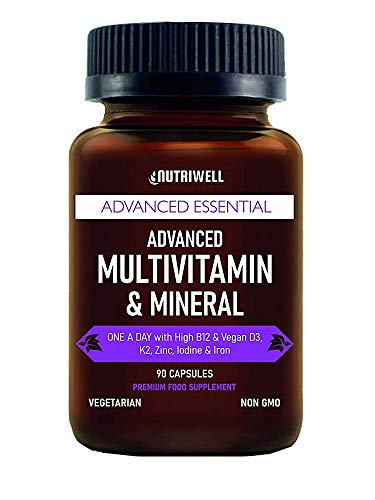 Advanced Multivitamin & Mineral, ONE A Day, 90 Capsules for Men & Women.Specially for Vegans & Vegetarians with High Strength B12 & D3, K2, Zinc, Iron &Iodine – Made in The UK by Nutri Well