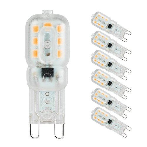 Lampadine a led G9, Pursnic Lampada g9 3W(Equivalente alogeno 33W), Bianco caldo 3000k, Angolo a fascio 360 °, lampadine a risparmio energetico, 6 pezzi