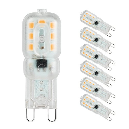 Pursnic G9 LED Lampadine, Lampadina G9 3W Equivalente Aogeno 33W, Bianco Caldo 3000k, Angolo a Fascio 360 °, 6 pezzi