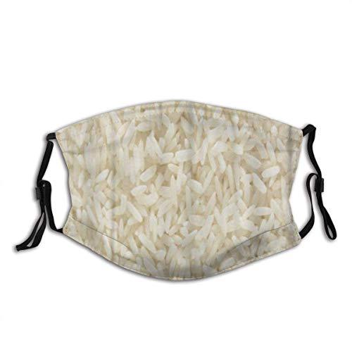 Mengghy Co_V-Er Gesichtsschutz Mundschutz Weiß Langer Reis, Ungekochte Rohes Getreide Makro Nahaufnahme Wiederverwendbar Waschbar Anti Staub Schals mit 2 Filter