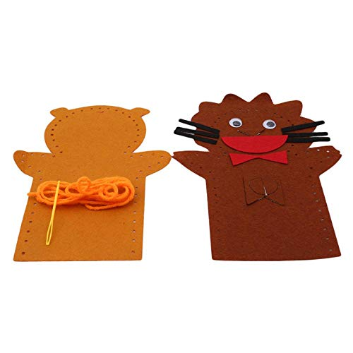 Kit de Costura DIY Juguetes de Fieltro para niños en la Mano para Teatro de Marionetas Craft Story Telling Animal Frog Educational Girl, Toy Educativo para niños Lion