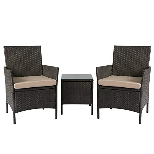 Aoxun Patio Bistro Set 3-Piece Outdoor Rattan Patio Furniture, Outdoor Bistro Set Wicker Patio Furniture with Coffee Table and Thick Cushion,Brown