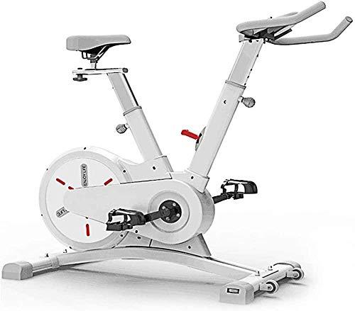 Bicicleta estática deportiva ultra silenciosa para uso en interiores y exteriores, para ejercicios aeróbicos en casa, máquina de carrera portátil de 112 x 56 x 105 cm, color blanco