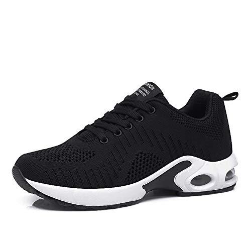 Zapatos Correr Mujer Running Sneakers Air Amortiguación Zapatillas Deporte Gimnasia Transpirables Ligero Aire Libre Negro Rojo Azul 35-42 Negro 38