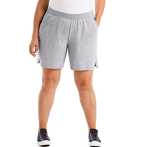JUST MY SIZE Womens Cotton Jersey Pull-On Shorts, 4X, Light Steel