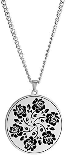 NC520 Amuleto de Yoga Indio para Hombres y Mujeres, Collar de Loto, Colgante de Loto, Cadena de Acero Inoxidable, Amuleto religioso, joyería Vintage