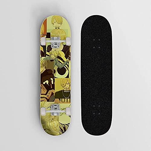 Anime Skateboard para una pieza Vinsmoke Sanji Fondo amarillo Mini crucero- Doble patada patineta 7 capas arce cubierta de madera truco doble patada cóncava patinetas estándar para niñas niños niños a