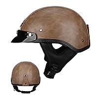 オートバイハーフヘルメットオープンフェイスオートバイヘルメットヴィンテージアダルトオートバイヘルメットレトロスクーターハーフヘルメットモペットECE/DOT認証 Light brown,XL