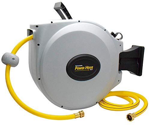 "Power Retractable Hose Reel 5/8"" x 50 + 6 ft, Super Heavy Duty, 500 PSI Burst Strength, 3 Layer Hybrid Hose (Standard)"